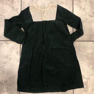 Olive Juice Emerald Corduroy Bib Dress